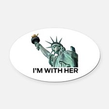 Funny Statue of liberty statue Oval Car Magnet
