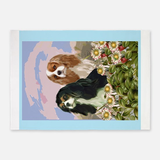 Two Cavaliers in the garden 5'x7'Area Rug