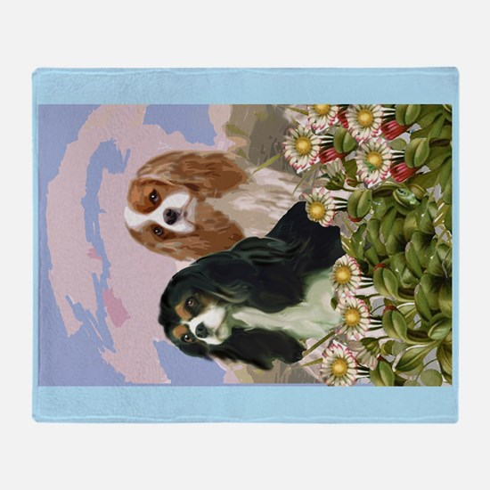 Two Cavaliers in the garden Throw Blanket