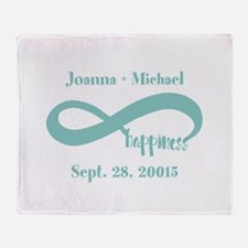 Infinity Happiness Custom Names Throw Blanket