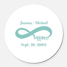 Infinity Happiness Custom Names Round Car Magnet