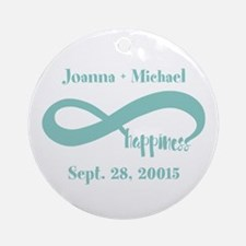 Infinity Happiness Custom Names Round Ornament