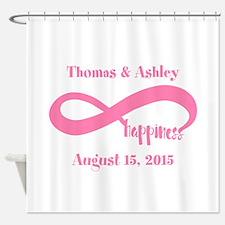 Pink Custom Infinite Happiness Shower Curtain