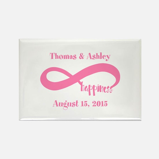 Pink Custom Infinite Happiness Rectangle Magnet