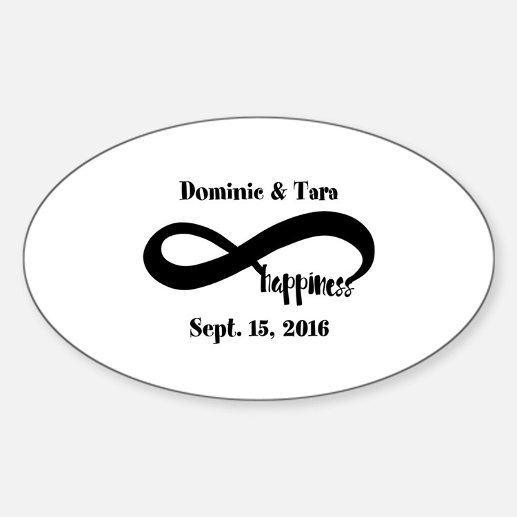 Bride and Groom Infinity Modern Hap Sticker (Oval)