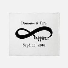 Bride and Groom Infinity Modern Happ Throw Blanket