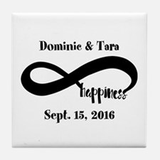 Bride and Groom Infinity Modern Happi Tile Coaster