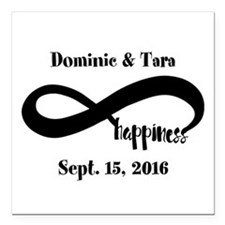 """Bride and Groom Infinity Square Car Magnet 3"""" x 3"""""""