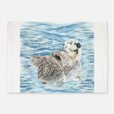 Cute Little Otter taking a Nap 5'x7'Area Rug