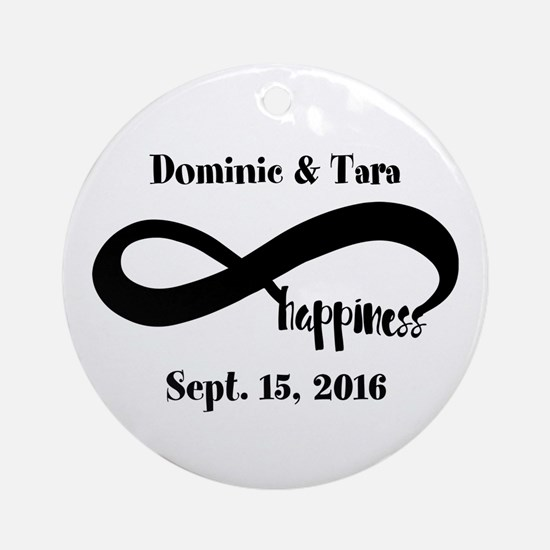Bride and Groom Infinity Modern Hap Round Ornament