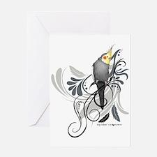 Gray Cockatiel Greeting Cards