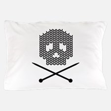 Knit Skull and Crossbones Pillow Case