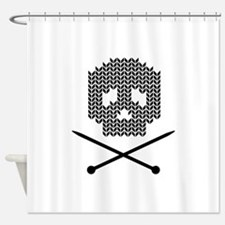 Knit Skull and Crossbones Shower Curtain