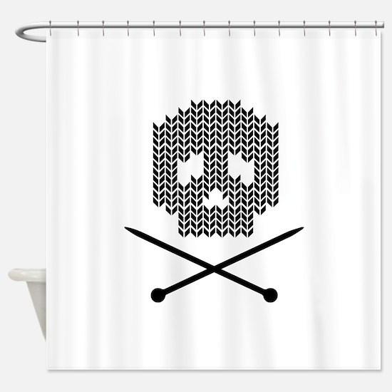 Knit Skull and Crossbones Shower Curtain