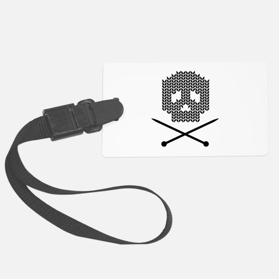 Knit Skull and Crossbones Luggage Tag