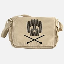 Knit Skull and Crossbones Messenger Bag