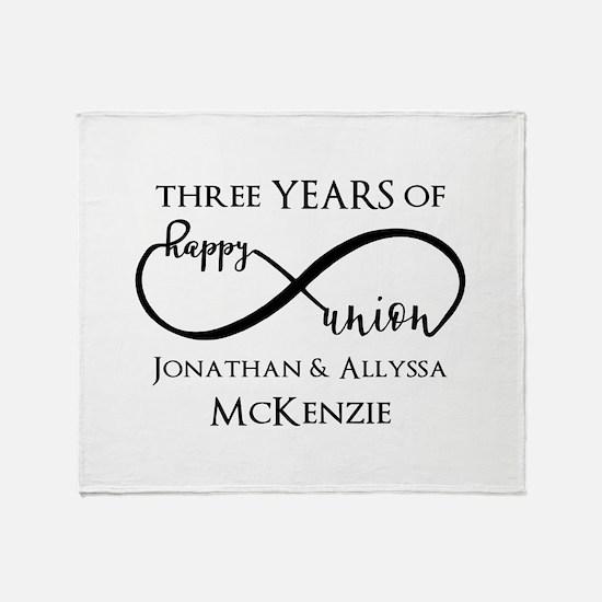 Custom Anniversary Years and Names I Throw Blanket