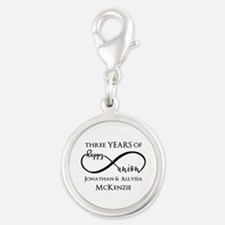 Custom Anniversary Years and N Silver Round Charm