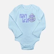 Cute Navy brat Long Sleeve Infant Bodysuit