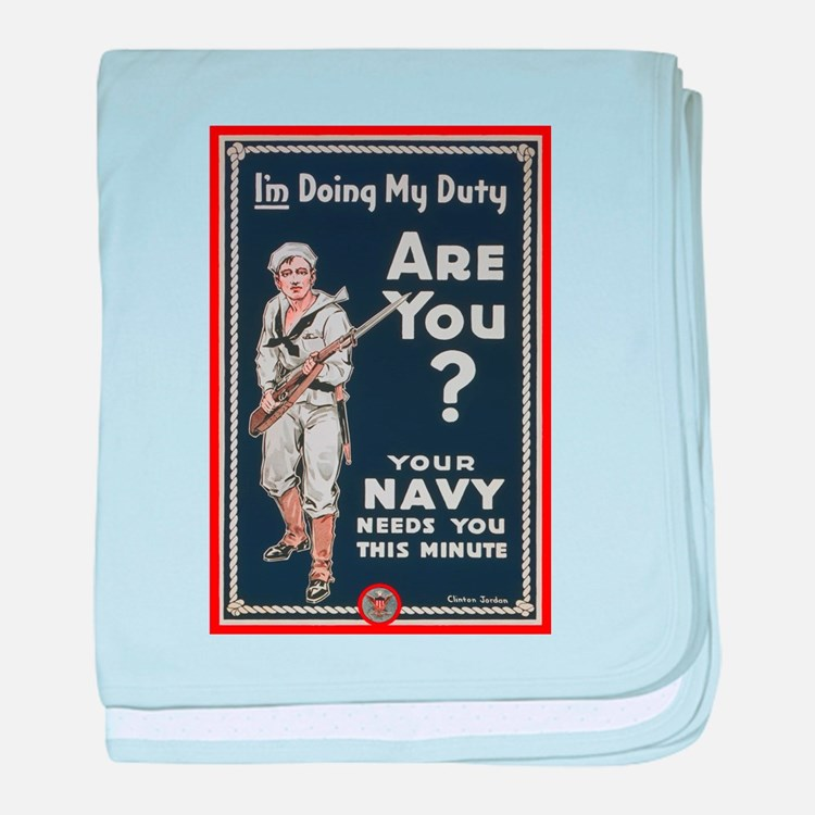 WWI USN Doing My Duty Navy Propaganda baby blanket