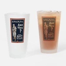 WWI USN Doing My Duty Navy Propagan Drinking Glass