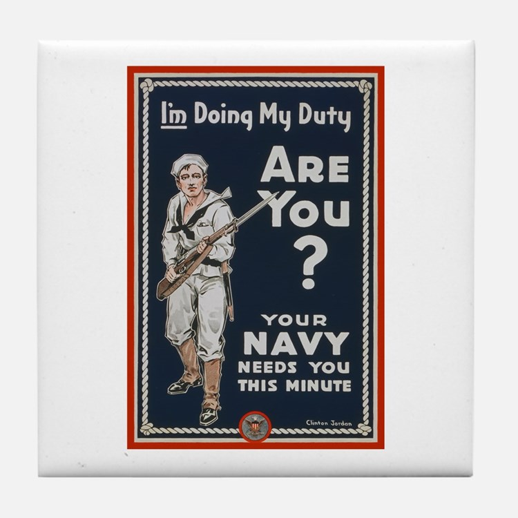 WWI USN Doing My Duty Navy Propaganda Tile Coaster