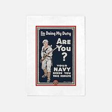 WWI USN Doing My Duty Navy Propagan 5'x7'Area Rug