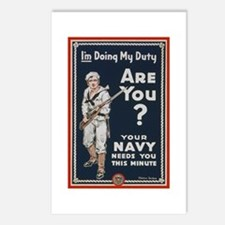 WWI USN Doing My Duty Nav Postcards (Package of 8)