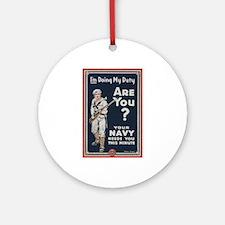 WWI USN Doing My Duty Navy Propagan Round Ornament