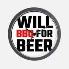 Will BBQ For Beer Wall Clock