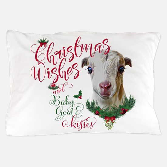 Christmas Wishes Baby Goat Kisses - La Pillow Case