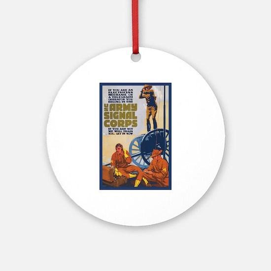 WWI Signal Corps Army Propaganda Round Ornament