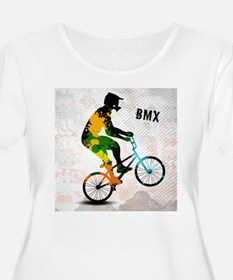 BMX Rider with Abstract Paint Sp Plus Size T-Shirt
