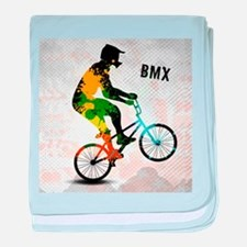 BMX Rider with Abstract Paint Splotch baby blanket