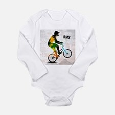 BMX Rider with Abstract Paint Splotches Body Suit