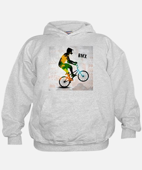 BMX Rider with Abstract Paint Splotche Hoody