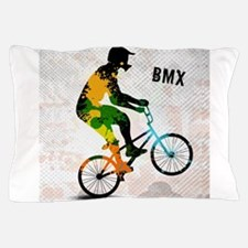 BMX Rider with Abstract Paint Splotche Pillow Case
