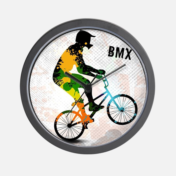 BMX Rider with Abstract Paint Splotches Wall Clock