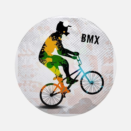 BMX Rider with Abstract Paint Splot Round Ornament