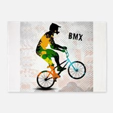 BMX Rider with Abstract Paint Splot 5'x7'Area Rug