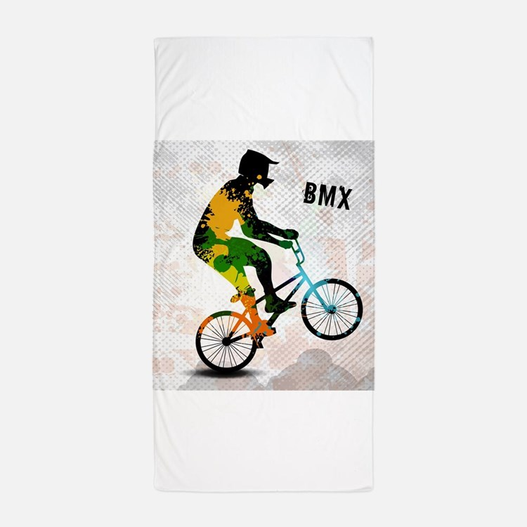 BMX Rider with Abstract Paint Splotche Beach Towel