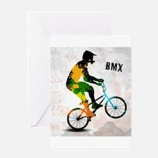 BMX Rider with Abstract Paint Splot Greeting Cards