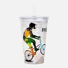 BMX Rider with Abstrac Acrylic Double-wall Tumbler