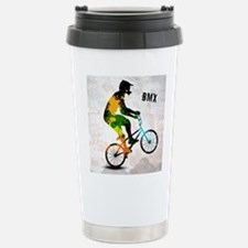 BMX Rider with Abstract Travel Mug