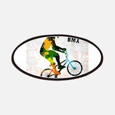 BMX Rider with Abstract Paint Splotches Colo Patch