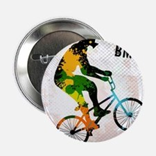 """BMX Rider with Abstract Paint Splotch 2.25"""" Button"""