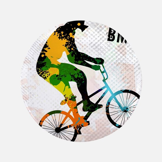 BMX Rider with Abstract Paint Splotches Col Button