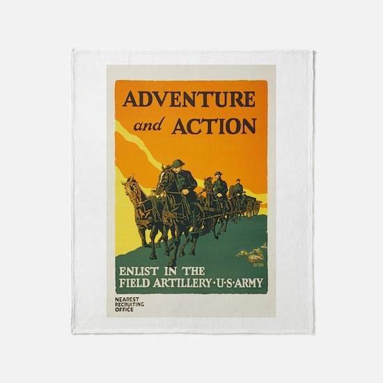 WWI Enlist in Field Artillery Army P Throw Blanket