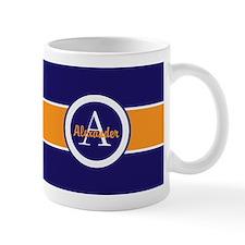 Navy Blue Orange Monogram Personalized Mugs