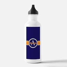 Navy Blue Orange Monogram Personalized Water Bottl
